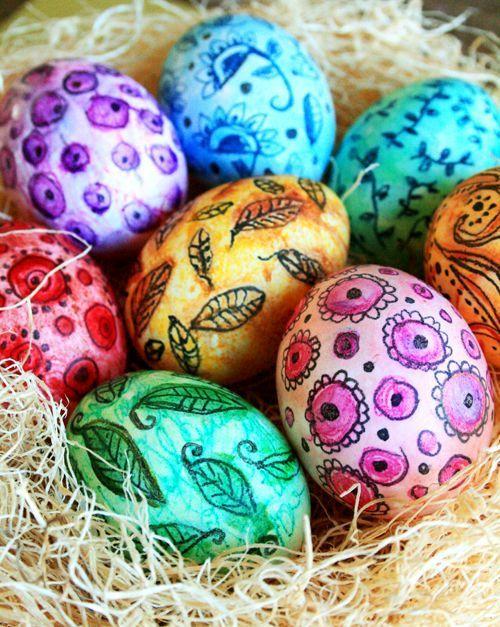 Как покрасить яйца акварельными красками, рисунки ...