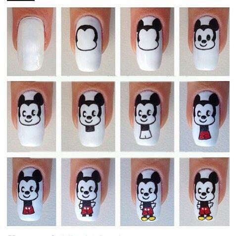 Как рисовать микимауса на ногтях поэтапно фото