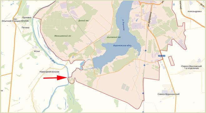 Где проходит граница города Воронеж?