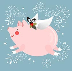 летающая свинка открытка на Новый год 2019