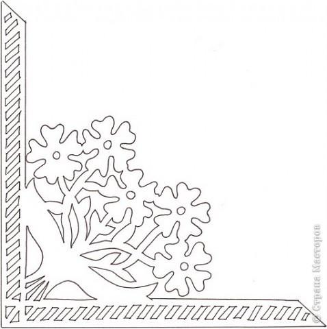 вытынанка уголок из цветов