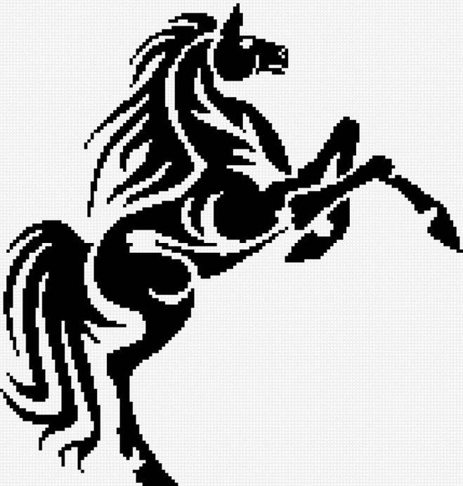 Схемы вышивки лошади (цветной