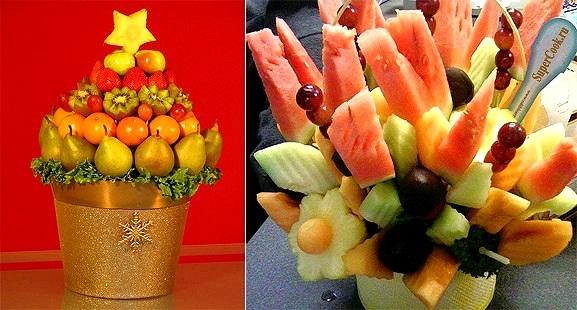 Как и из каких овощей или фруктов можно сделать съедобный букет?