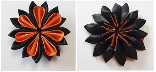 """Цветок в технике """"канзаши"""" для украшения на 9 мая мастер-класс"""