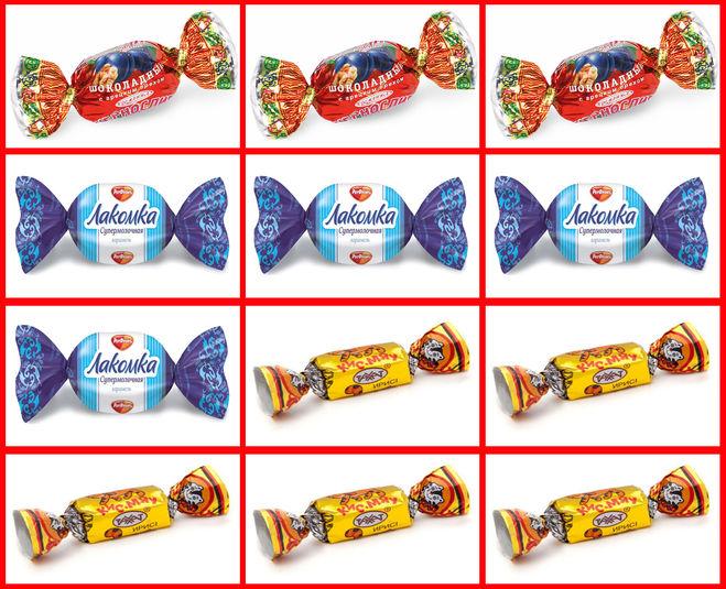 Все двенадцать конфет распределены по пакетам.