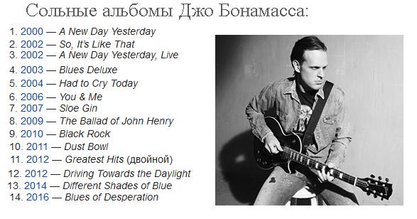 сольные альбомы Джо Бонамасса