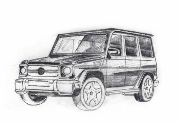 рисунки карандашом мерседес гелендваген