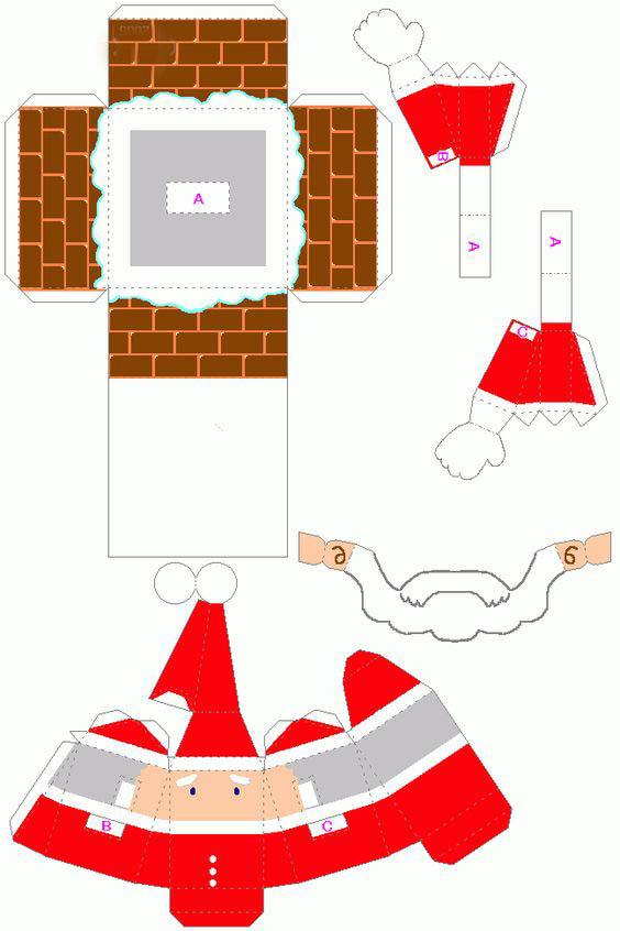 Поделки в технике паперкрафт на Новый год как сделать? Схемы?