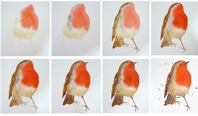 Рисуем птиц поэтапно гуашью 158