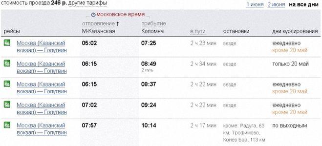 Расписание поездов прибывающих на Казанский вокзал