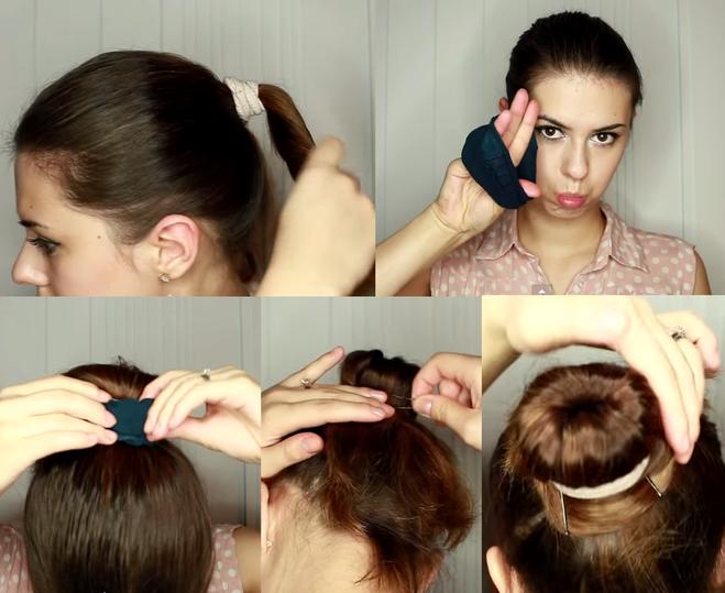 Пучок волос своими руками