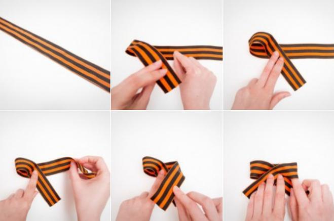 Как сделать из георгиевской ленточки бантик изящный