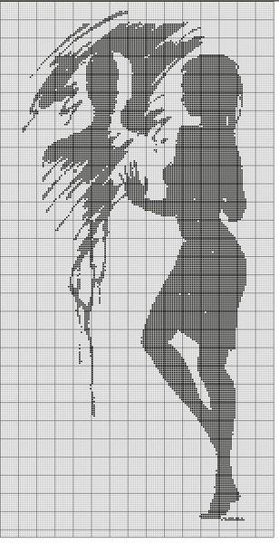 Схемы девушек монохромной вышивки крестом