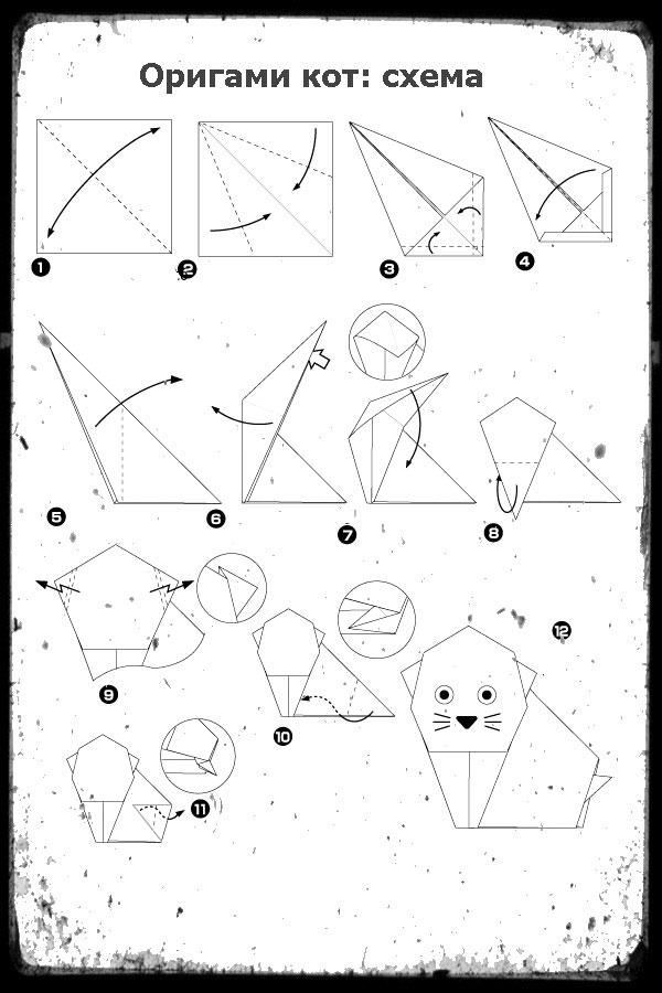 Кошки из бумаги в схемах