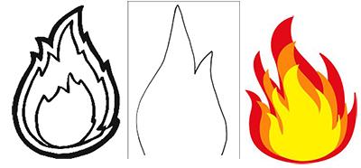 шаблон для пламени к поделке на 9 мая