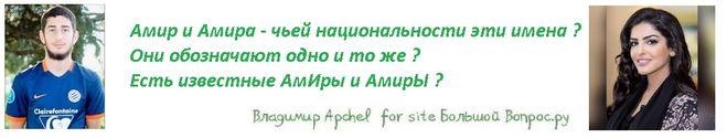 Амир и Амира - чьей национальности эти имена ?  Они обозначают одно и то же ?  Есть известные АмИры и АмирЫ ?