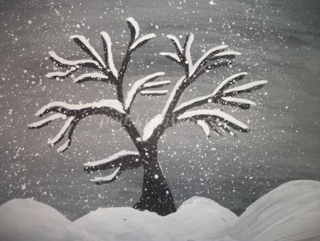 Как нарисовать дерево в снегу поэтапно для детей мастер-класс