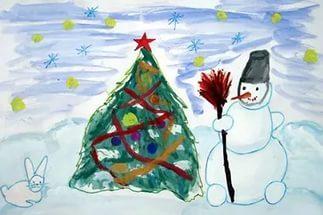 Как дети рисуют картинки на новый год