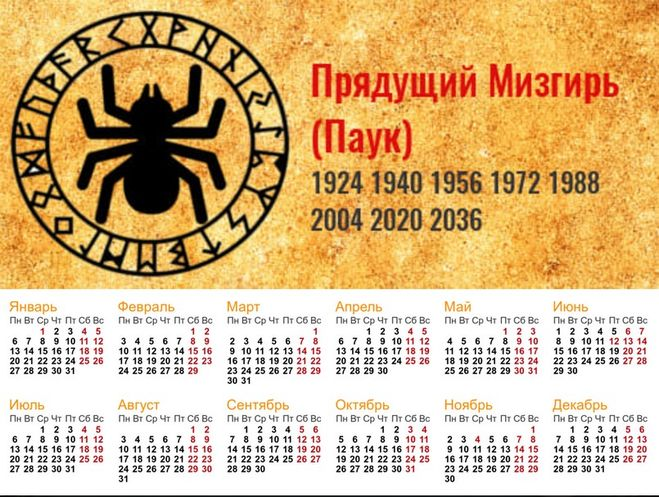 Календарь 2020 Прядущий Мизгирь (паук)