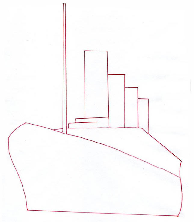 Теплоход карандашом поэтапно