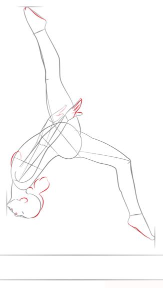 рисунок гимнастки поэтапно своими руками
