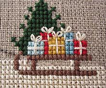 вышивка с санями на Новый год, Рождество