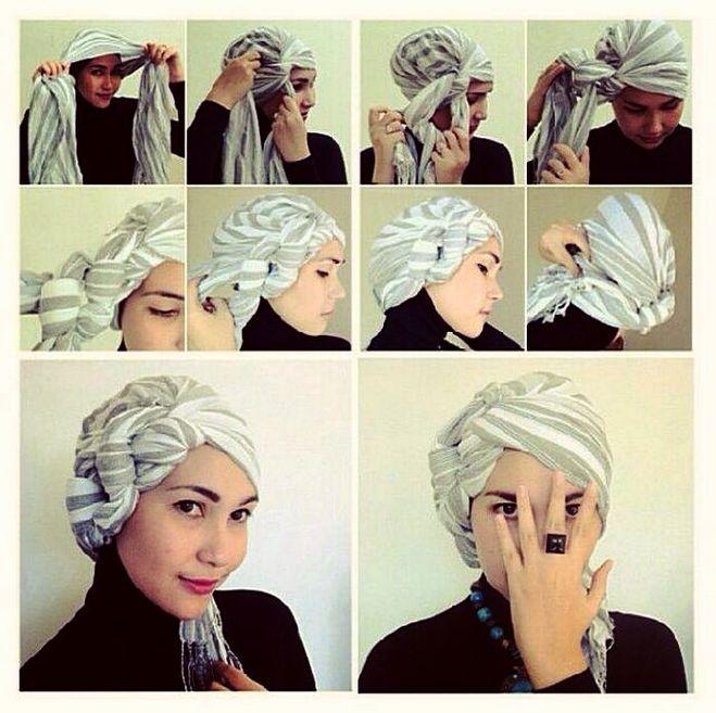 как сделать тюрбан из шарфа