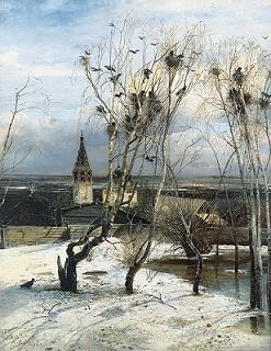 Саврасов Грачи прилетели: описание деревьев