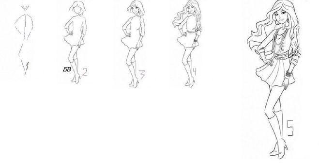 Как нарисовать девочку в платье длинное