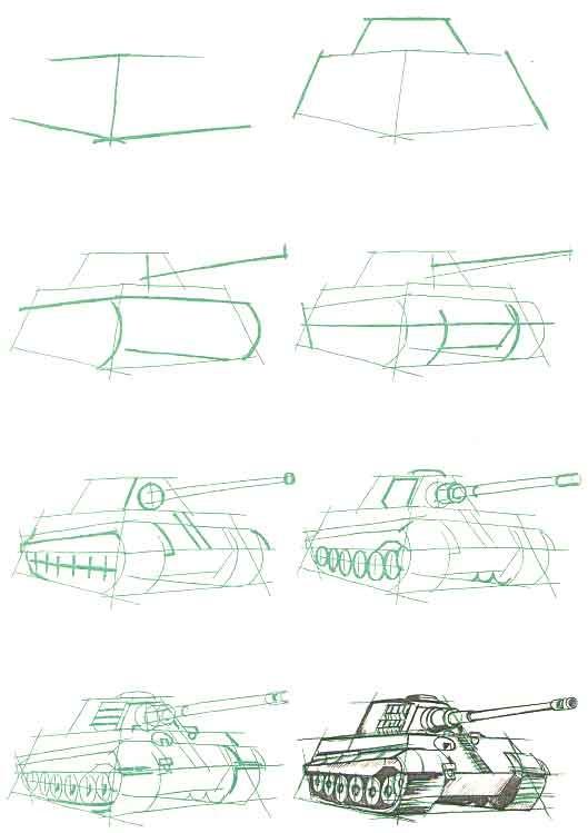 Картинка танка поэтапно