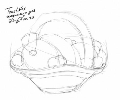 как нарисовать корзину с фруктами поэтапно