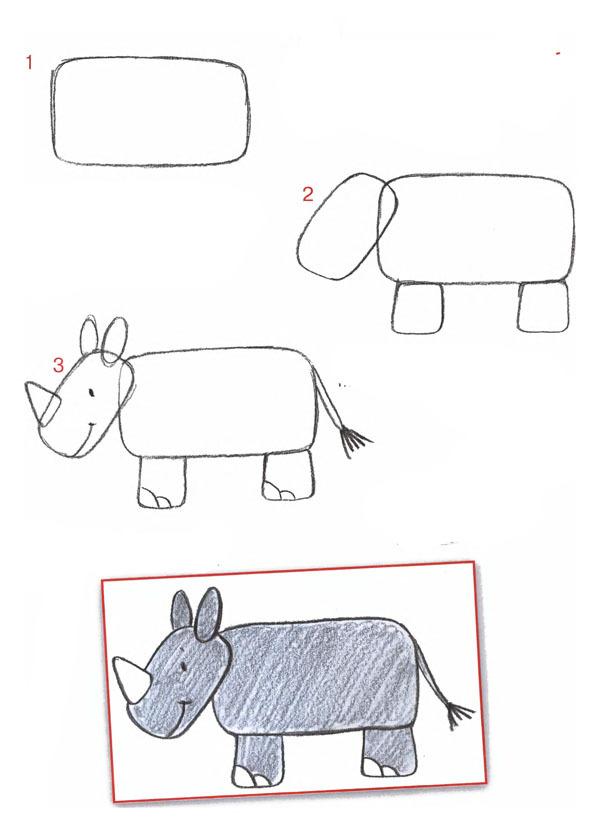 Нарисовать поэтапно носорога