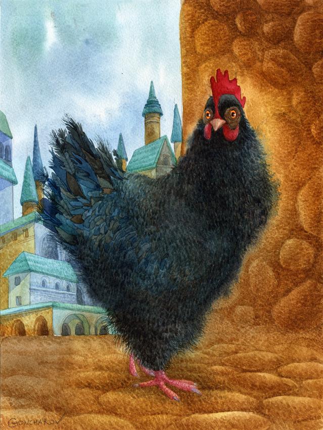 Черная курица открытка 13