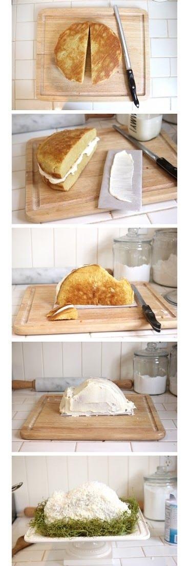 торт в виде зайца 3D поэтапно