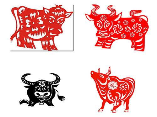 вытынанка с быком, коровой для Нового года 2021