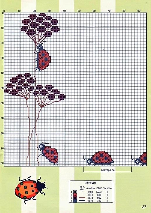 Схема божьей коровки для вышивки 78