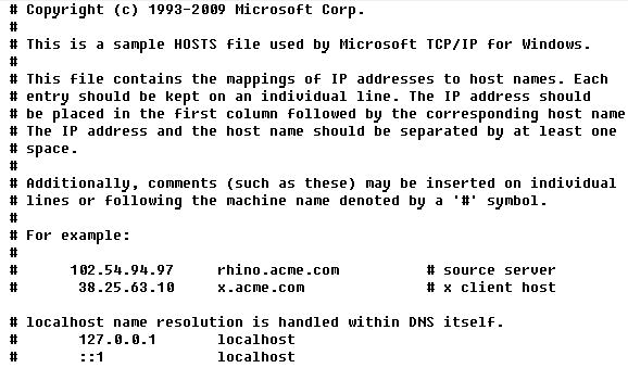 Файл hosts.