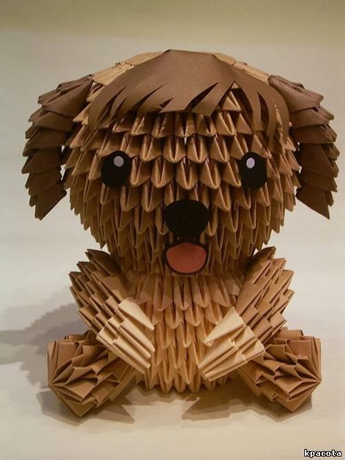 Как сделать модульное оригами собаку?