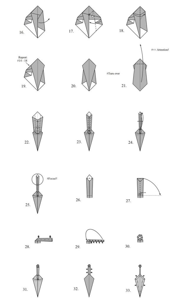 Оригами из бумаги меч схема фото 414