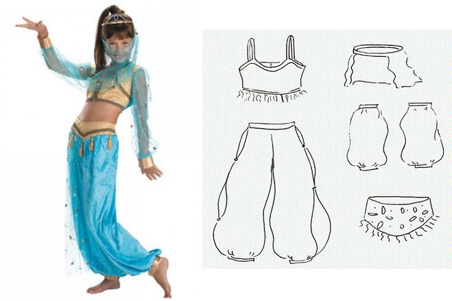 Детский костюм для восточных танцев выкройка