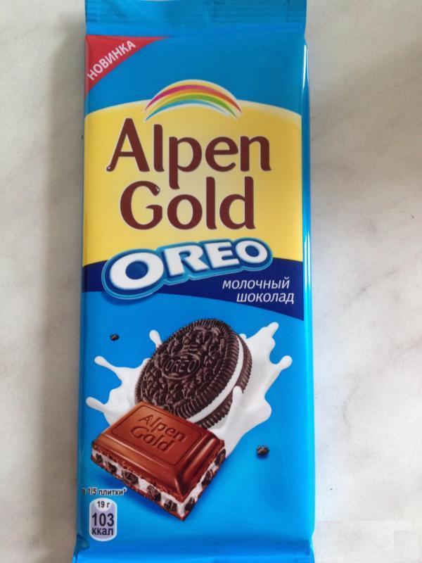 """Шоколад Альпен Гольд (Alpen Gold) с печеньем """"Орео"""" (Oreo)"""