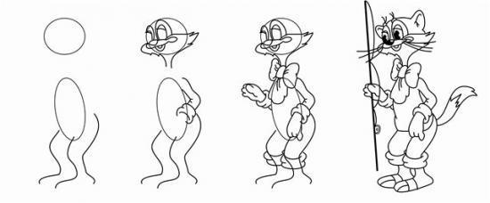 Леопольд кот рисунок карандашом
