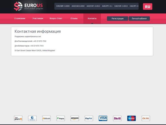 Eurous.net - какие отзывы? Платят или нет?