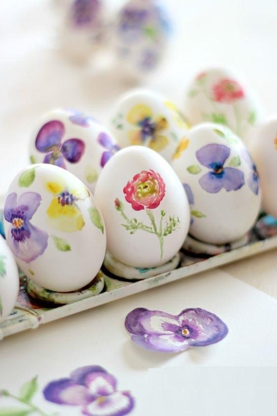 Цветы на яйцах своими руками