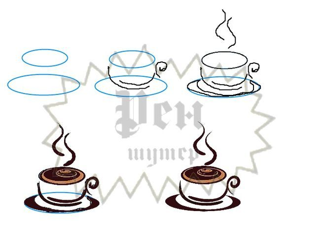 Чашка кофе рисунок карандашом поэтапно