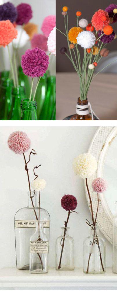 цветы из помпонов