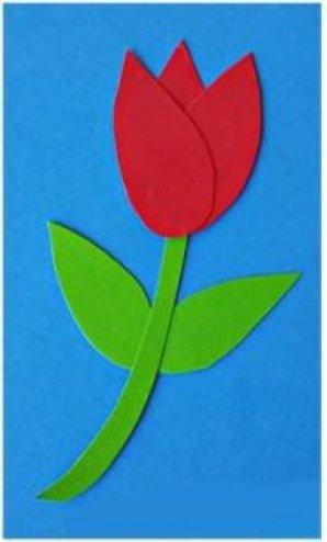 Как сделать аппликацию в виде цветов для мамы .