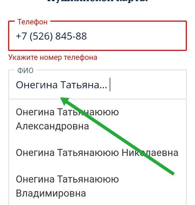 Пушкинская карта как ввести