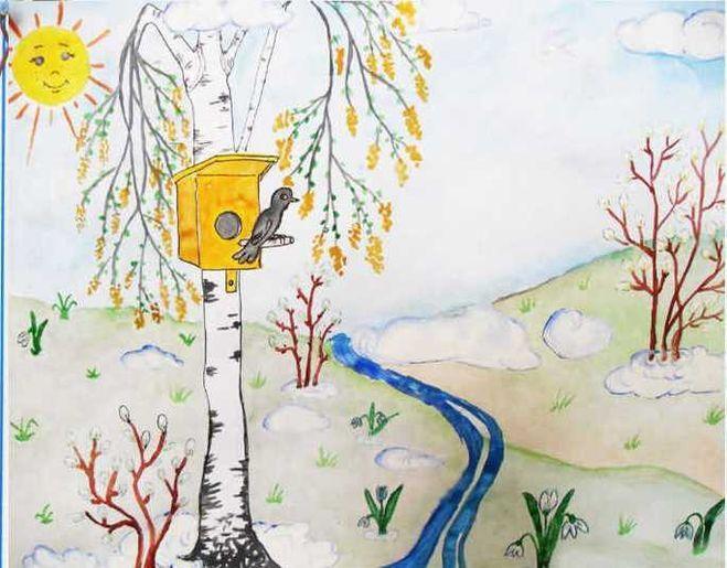 Картинки птицы весной карандашом