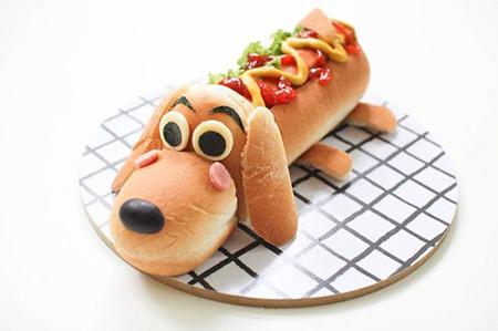 съедобная собака для украшения из булочек